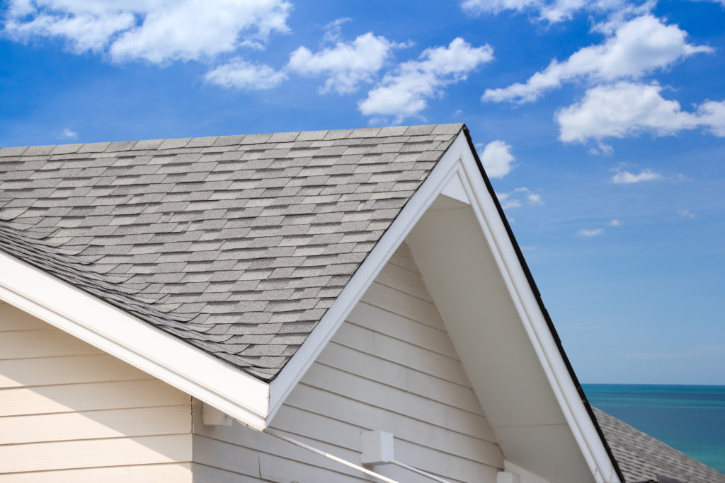 a close up shot of a home's roofing system